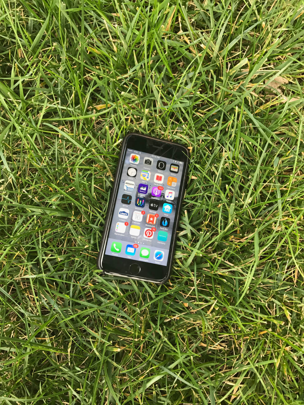 Cell phone in grass