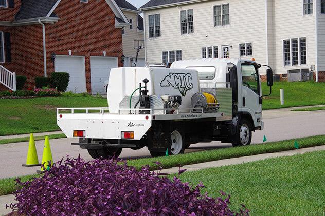Spray rig servicing home